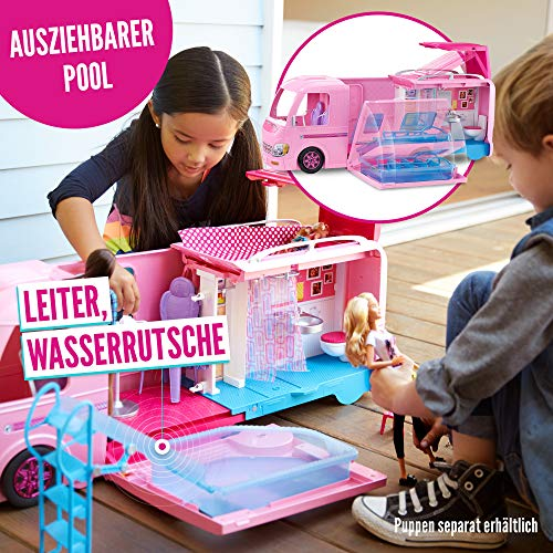 Barbie FBR34 - Super Abenteuer Camper, Puppen Camping Wohnwagen mit Zubehör, Mädchen Spielzeug ab 3 Jahren - 5