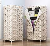N&B Tragbare Kleidung Schrank - kleiderschrank-Organizer - Weißes Vinyl Stoff - Robuste metallrahmen - Einfach werkzeugmontage Ohne-D 70x45x140cm(28x18x55)