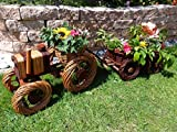Doppelpack: Traktor+Hänger 50 + 60 cm braun,aus Korbgeflecht, Korbmaterial wetterfest**, WITZIGE GARTENDEKO, ideal als Pflanzkasten, Blumenkasten, Pflanzhilfe, Pflanzcontainer, Pflanztröge, Pflanzschale, Rattan, Weidenkorb, Pflanzkorb, Blumentöpfe, Holzschubkarre, Pflanztrog, Pflanzgefäß, Pflanzschale, Blumentopf, Pflanzkasten, Übertopf, Übertöpfe, , Holzhaus Pflanzgefäß, Pflanztöpfe Pflanzkübel