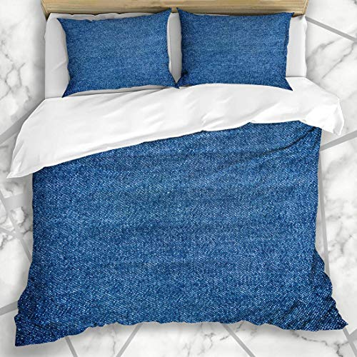 HARXISE Bettwäsche - Bettwäscheset Blaues Segeltuch-Denim-Weinlese-Nahaufnahme-Indigo-Farbkleid Jean Design Weiches Dreiteiliges Mikrofaser-Set Mit Verschiedenen Benutzerdefinierten Mustern160*220 -