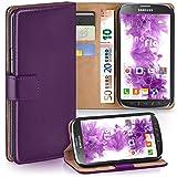moex Samsung Galaxy S4 Active | Hülle Lila mit Karten-Fach 360° Book Klapp-Hülle Handytasche Kunst-Leder Handyhülle für Samsung Galaxy S4 Active Case Flip Cover Schutzhülle Tasche