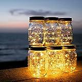 Solar Mason Jar Licht - ELINKUME 1PCS 20LED Solarleuchten Wasserdicht Garten Hängeleuchten Außen Lichterkette für Party, Weihnachtsferien, Hochzeitsdekoration (Warmweiß)