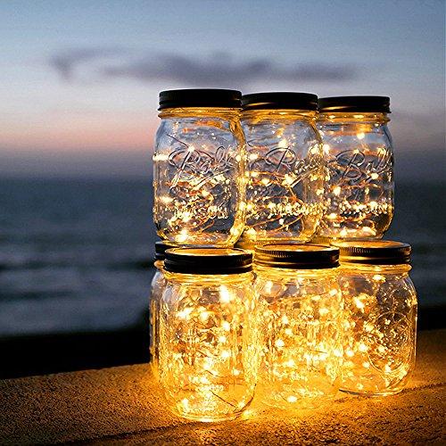 Solar Mason Jar Licht - ELINKUME 20 LED Solarleuchten Wasserdicht Garten Hängeleuchten Außen...