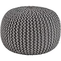 Egypto Hand Knitted Ottoman Foot Stools - 100% Cotton Braided Cord - Handstiched & Handmande Comfortable Pouffe Foot Stool - 50cm (Grey)