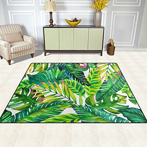doshine Bereich Teppiche Matte Teppich 4'X5', Tropical Beach Palm Blätter Muster Polyester rutschfest Wohnzimmer Esszimmer Schlafzimmer Teppich Eingang Fußmatte Home Decor, multi, 4'x5'