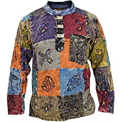 Little Kathmandu Camisa para hombre, tipo patchwork, estilo hippie, con símbolos estampados multicolor Stonewashed XX-Large