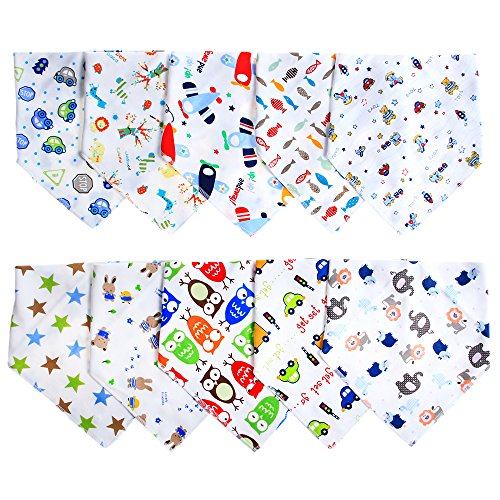 Labebe Baby Dreieckstuch Lätzchen Spucktuch mit unterschiedlichen Muster 10er Pack (B) Jungen