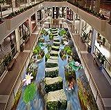 Rureng Benutzerdefinierte Wandbild Tapete 3D Teich Lotus Stein Brücke Bodenfliesen Aufkleber Wohnzimmer Mall Im Freien Pvc Wasserdicht-200X140Cm