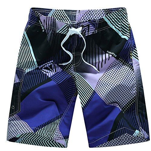HOOM-Nouveau pantalon de plage d'été occasionnels Shorts hommes Camo coton taille lâche cinq pantalons shorts Purple h