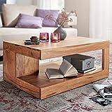 FineBuy Couchtisch Massiv-Holz Akazie 90 cm breit Wohnzimmer-Tisch Design Natur-Produkt Landhaus-Stil Beistelltisch Wohnzimmermöbel Unikat modern Massivholzmöbel Echtholz rechteckig braun
