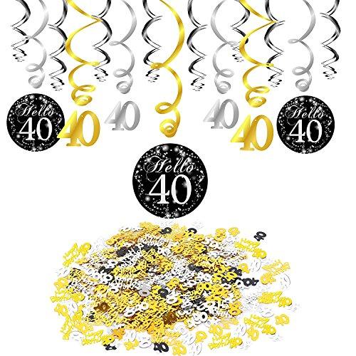 ation, Konsait 40. Geburtstag Swirl (15 Grafen), Happy Birthday & 40 Table Konfetti (1.05 oz) schwarz Folienspiralen Deckenhäng Dekor Tisch Dekor für Celebration 40. ()