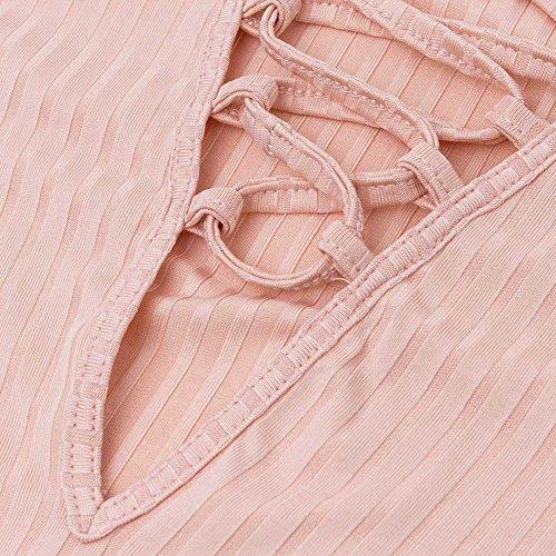 La Cabina Femme Sexuelle Combinaison en Tricotage à Manches Longues Col V en Lacet Blouse Tops Haut + Culotte pour Soirée Cocktail Bar Party Rose