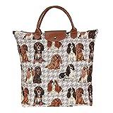 Tapisserie Damen Wegpackbare Einkaufstasche im Signare stil Cavalier King Charles Spaniel