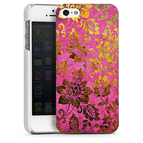 Apple iPhone 6 Plus Housse étui coque protection Rétro couleurs Fleurs CasDur blanc