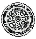 NAZAR UTO114N Tapis de salon rond à imitation carreaux de ciment, Noir et blanc -...