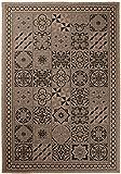 Carpeto Sisal Teppich Beige 140 x 200 cm Marokkanisches Fliesenmuster Muster Flachgewebe Sisal Kollektion