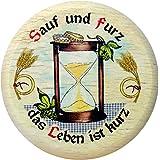 Kaltner Präsente Geschenkidee - Insektenschutz für Gläser und Getränke aus echtem Holz / Bier Wein Bierdeckel Biergläser Weingläser Tassen Biergarten / Motiv Humor - Sauf und furz das Leben ist kurz