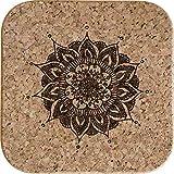 Azeeda 4 x Mandala Decorativo Posavasos de Corcho Cuadrados de 10cm (CR00151671)