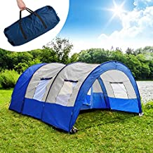 TecTake Tunnelzelt 3000 mm Wassersäule Campingzelt Familienzelt Gruppenzelt Camping Zelte 4 - 6 Personen Wasserdicht