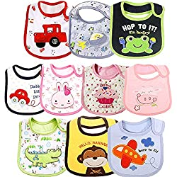 Jeffica 10pcs Baberos Bebe Impermeables Baberos Bandanas Recién Nacido Bufandas de Algodón Diseño de Animales para Bebés agradable