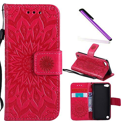 COTDINFOR iPod touch 5 Protective Standing Hülle Elegant PU Tasche Leder Flip Schutzhülle im Bookstyle Kartenfächer Magnet Etui Schale für iPod touch 6 Red Sunflower KT.