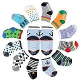 12er-pack Baby ABS Socken, Anti Rutsch Socken für 12-36 Monate Baby Mädchen und jungen, Marine-Stil, von Future Founder