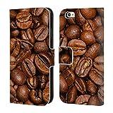 Head Case Designs Offizielle PLdesign Braune Kaffebohnen Nahrung Brieftasche Handyhülle aus Leder für iPhone 6 / iPhone 6s