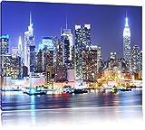 New York City Skyline Brücke bei Nacht Format: 100x70 cm auf Leinwand, XXL riesige Bilder fertig gerahmt mit Keilrahmen, Kunstdruck auf Wandbild mit Rahmen, günstiger als Gemälde oder Ölbild, kein Poster oder Plakat