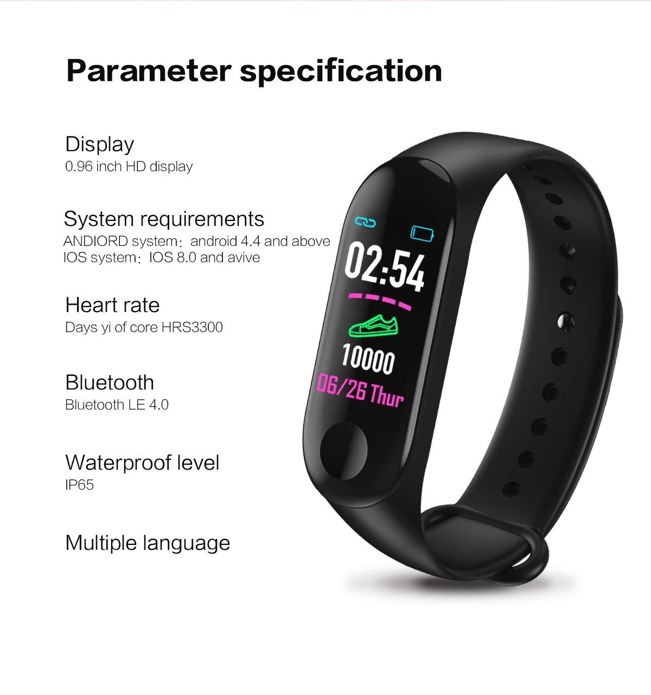 GULEHAY M3 Plus Smart Fitness Tracker, reloj de actividad impermeable con pantalla a color Monitor de ritmo cardíaco… 9