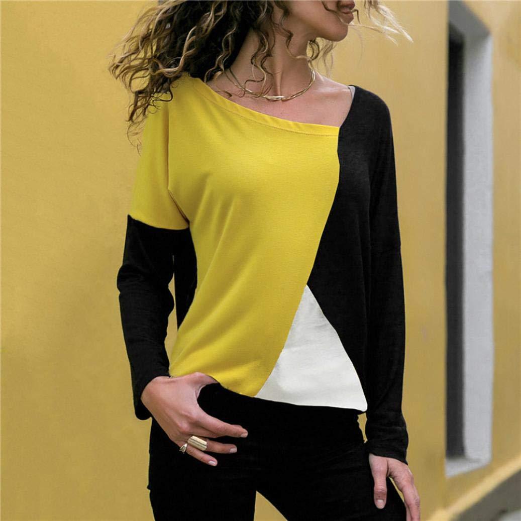 2f36bcc76c Costura Color De Contraste Cuello Redondo Manga Larga Camiseta Mujer ...