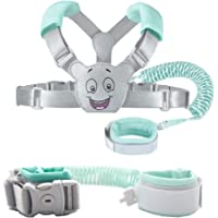 Baby Reins Walking Harness for Toddlers, Kids, Children, 3-in-1, Anti Lost Safety Wrist Cuff with Lock + Backpack + 1.5m Bungee Straps Link