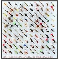 Assortimento di trota mosche pesca con la mosca, Regno Unito, Dry Wet & Nymph Buzzer mosche Set Gancio, dimensioni 10, 12, 14, confezione da 10, 25, 50e 100, AS PER PICTURE, Hook size 12 x (Qty 10)