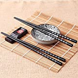 BEESCLOVER 1 Pair Japanese Alloy Chopsticks Non-Slip Non-Toxic Luxury Black Reusable Chop Sticks