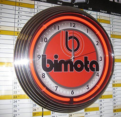 NEON UHR BIMOTA MOTORCYCLE GARAGE SIGN WANDUHR BELEUCHTET MIT ROTEN NEON RING! (Neon Uhr)