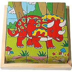 9 Bloques de construcción Piezas niños 3D Rompecabezas de madera PTTP-01 (Dinosaurio)
