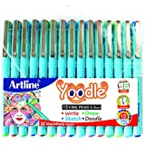 WRITEAWAY Artline Yoodle Fine Pen Assorted Colours (Combo Of 15) Pens 0.4 mm Tip