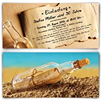 Einladungen Zum Geburtstag (50 Stück) Im Flaschenpost Motiv Einladungskarten