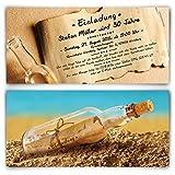 Einladungen zum Geburtstag (20 Stück) im Flaschenpost Motiv Einladungskarten