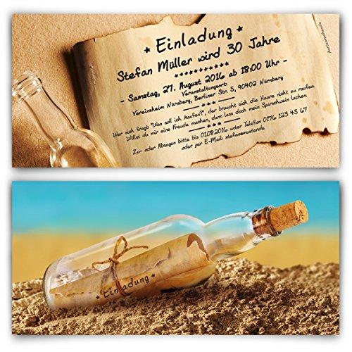 rtstag (30 Stück) im Flaschenpost Motiv Einladungskarten ()