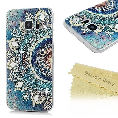 Mavis's Diary Case für Samsung Galaxy S7 Edge Tasche PC Hardcase Plastik Glanz Glitzer-Strass Case Schutzhülle Drucken Blumen mit Bling Strasstein Handmade Durchsichtig Bumper Handycover Handyhülle