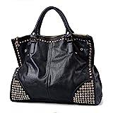 FiveloveTwo Damen Handtasche Griff Tasche Schultertaschen Shopper Umhängetaschen Punk Schädel Schwarz Geldbörse Handtasche