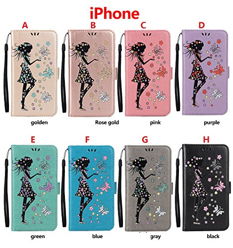Coque iPhone 7,Coque iPhone 7 Plus, Coque iPhone 6/6S, Coque iPhone 6Plus/6S Plus, Coque iPhone 5/5S/SE, [Porte-cartes] étui Protection en Cuir Portefeuille multi-Usage Housse Rabattable(LXT-04) F