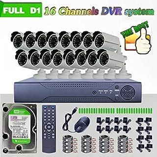 ANRAN 16CH H.264 Real-time Full D1 DVR 1200TVL Geschenkband mit IR-CUT-Kamera mit Nachtsicht Überwachungskamera Outdoor 2000GB Festplatten vorinstalliert