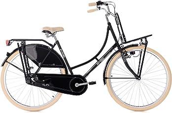 KS Cycling Damen Hollandrad 28'' Tussaud schwarz 3-Gänge mit Frontgepäckträger RH 53 cm Fahrrad