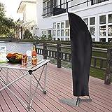 Kbnian sonnenschirmhülle, Schutzhülle Ampelschirm, Polyester Sonnenschirmhülle, Cover Plane Abdeckhaube für Sonnenschirm, 265 Höhe, Schwarz