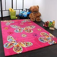 Tappeto Bambino/A Moderno Motivo Farfalla - Rosa, Dimensione:160x230 cm