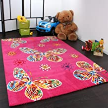 Alfombra Infantil Moderna Con Mariposas En Rosa Máxima Calidad, Grösse:120x170 cm