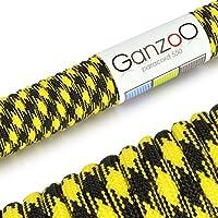 Ganzoo–Cuerda de supervivencia multifuncionales paracaídas Paracord 550(cuerda trenzada de nailon), soportan hasta 250kg, longitud total 15metros (50ft) Color: Amarillo/Negro–Marca Ganzoo