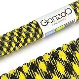Paracord 550 Seil Gelb | Schwarz | 31 Meter Nylon-Seil mit 7 Kern-Stränge | für Armband | Knüpfen von Hunde-Leine oder Hunde-Halsband zum selber machen | Seil mit 4mm Stärke | Mehrzweck-Seil | Survival-Seil | Parachute Cord belastbar bis 250kg (550lbs) - Marke Ganzoo