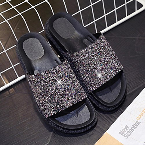 Saingace Frauen Sommer Peep-Toe Low Schuhe Römische Sandalen Damen Flip Flops Gold
